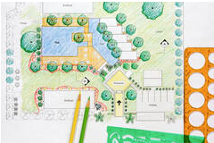 Areal view of a design plan for a backyard